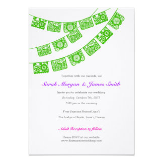 Papel Picado Wedding Party Invite Green