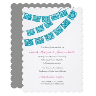 Papel Picado Wedding Party Invite Teal