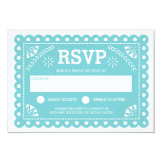 Papel Picado Wedding RSVP 9 Cm X 13 Cm Invitation Card