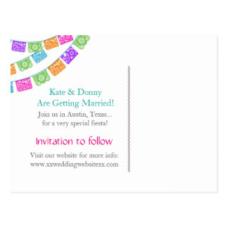 Papel Picado Wedding Save the Date postcard