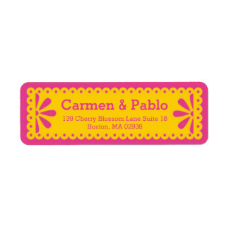 Papel Picado Yellow & Fuchsia Return Address Return Address Label