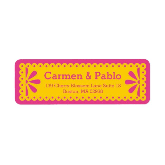 Papel Picado Yellow & Fuchsia Return Address Return Address Label