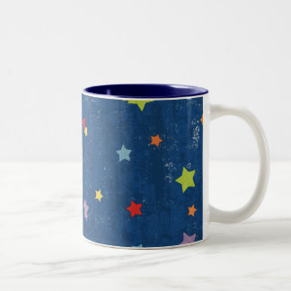 paper033 COLORFUL GRUNGE STAR SHAPES BLUE NIGHT SK Coffee Mugs