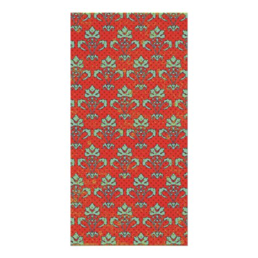 paper050 RED SCROLL LIGHT GREEN DECORATIVE BACKGRO Photo Cards