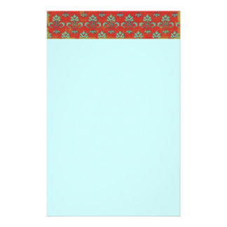 paper050 RED SCROLL LIGHT GREEN DECORATIVE BACKGRO Stationery Paper