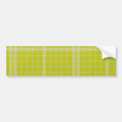 paper085 LIME GREEN GRID PLAID WHITE PATTERN TEMPL Bumper Stickers