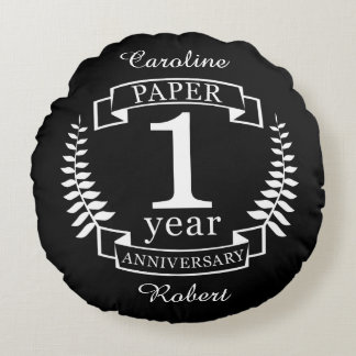 Paper 1st wedding anniversary 1 year round cushion