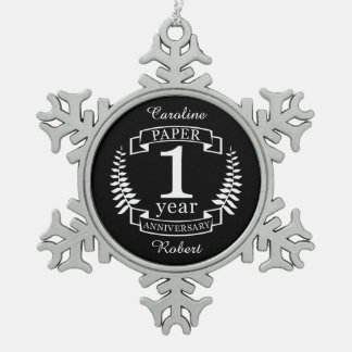 Paper 1st wedding anniversary 1 year snowflake pewter christmas ornament