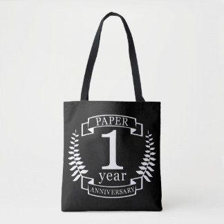 Paper 1st wedding anniversary 1 year tote bag