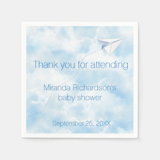 Paper Airplane Baby Shower Design Disposable Serviette