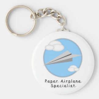Paper Airplane - Basic Round Button Key Ring