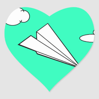 Paper Airplane in the Sky Heart Sticker