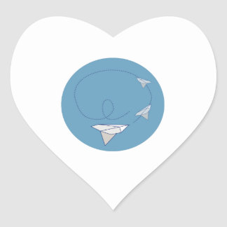 Paper Airplane Heart Stickers