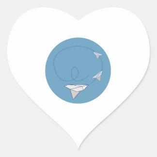 Paper Airplane Heart Sticker