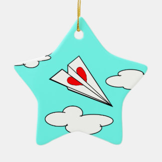 Paper Airplane with Heart Ceramic Ornament