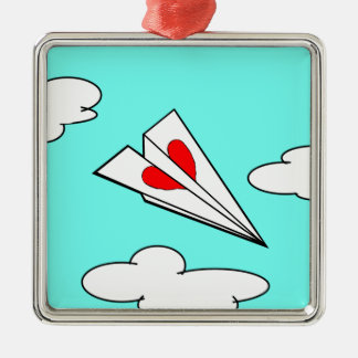 Paper Airplane with Heart Metal Ornament