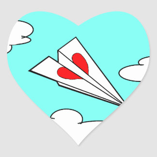Paper Airplane with Heart Heart Sticker