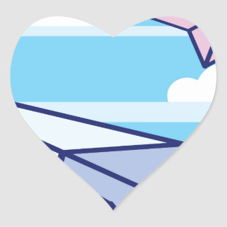 Paper Airplanes in the sky Heart Sticker