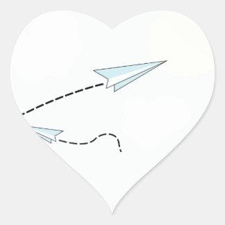 paper airplanes heart sticker