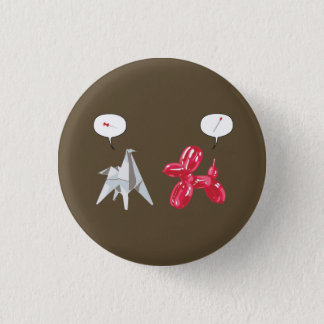 Paper and Baloon Dog 3 Cm Round Badge
