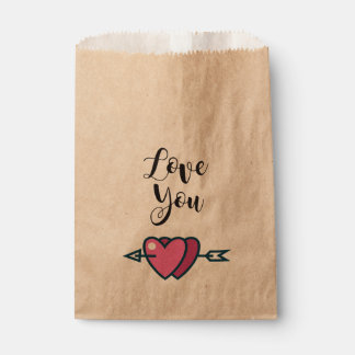 Paper bag enamored hearts Love you
