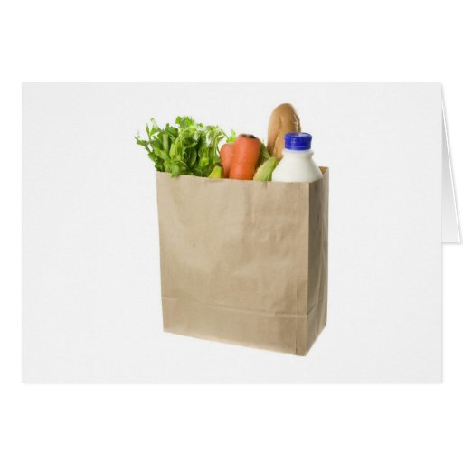Paper bag full of groceries greeting cards