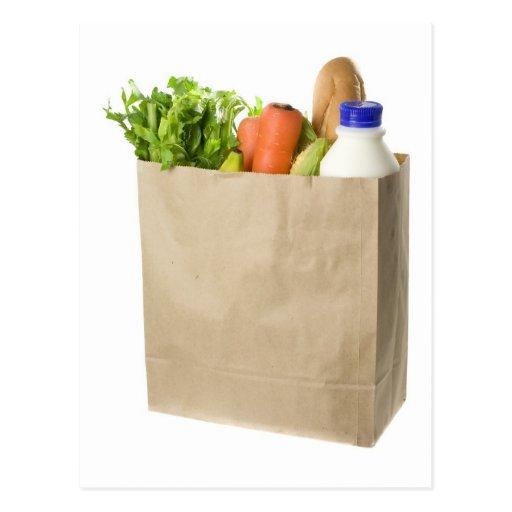 Paper bag full of groceries postcard