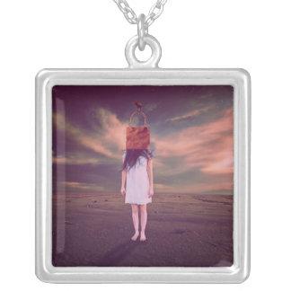 Paper Bag Princess Square Pendant Necklace