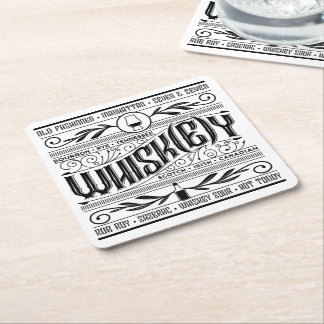 Paper Bar Coaster: Whiskey / Whisky Square Paper Coaster