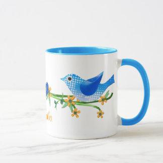 Paper Birds Custom Name Mug Blue