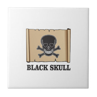 paper black skull small square tile