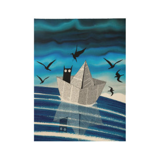 Paper Boat Wood Poster