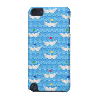 Paper Boats Sailing On Blue Pattern iPod Touch (5th Generation) Cases