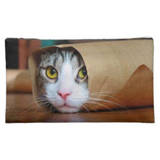 Paper cat - funny cats - cat meme - crazy cat cosmetic bag