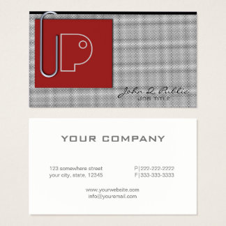 Paper Clip Monogram Red ID324 Business Card