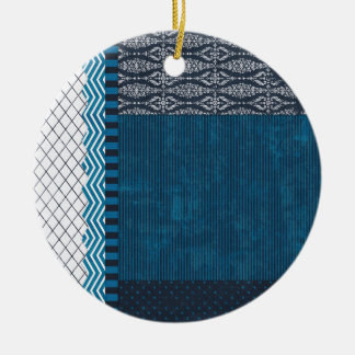 PAPER CLUSTER SCRAP-BOOKING STRIPES SOLIDS TEAL WH ORNAMENT