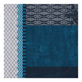 PAPER CLUSTER SCRAP-BOOKING STRIPES SOLIDS TEAL WH POSTERS