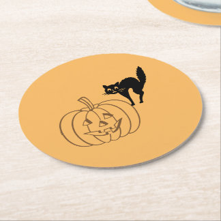 Paper Coaster - Pumpkin and Black Cat