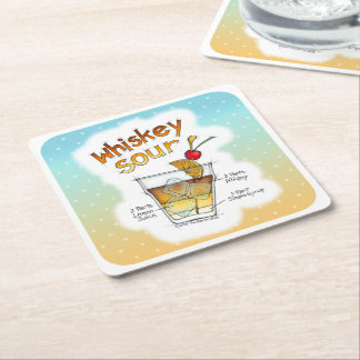 PAPER COASTERS - WHISKEY SOUR RECIPE COCKTAIL ART