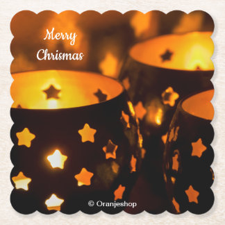 Paper Coasters with Christmas Candlelights