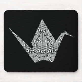 Paper crane with black hearts and flowers pattern mouse pad