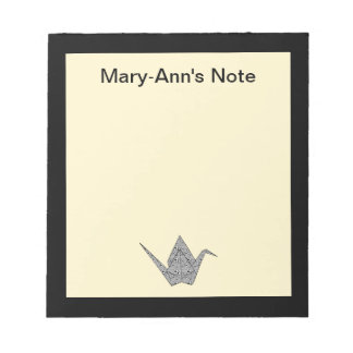 Paper crane with black hearts and flowers pattern notepad