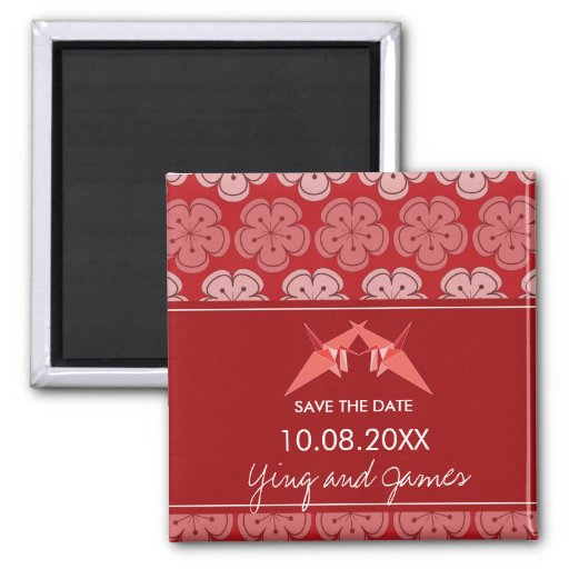 Paper Cranes Cherry Blossoms Wedding Save The Date Refrigerator Magnet