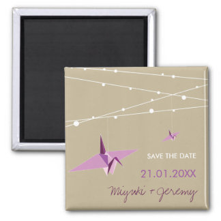 Paper Cranes & Fairy Lights Save The Date Magnet