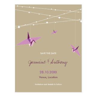 Paper Cranes Fairy Lights Wedding Save The Date Postcard