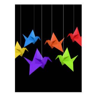 Paper cranes postcard