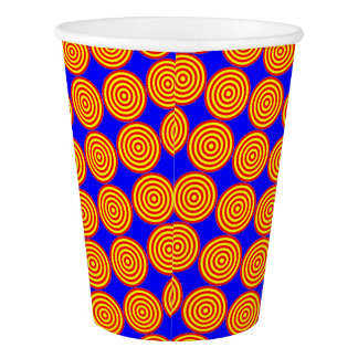 Paper Cup: Red & Orange Circles in Circles Paper Cup