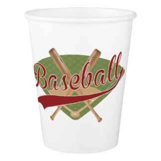 Paper Cup that says baseball with field and bats
