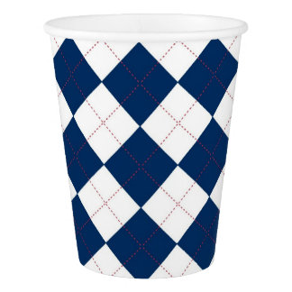 Paper Cup with a blue and white argyle pattern