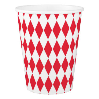 Paper Cup with white and red diamond shapes